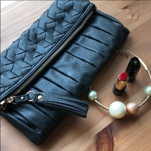 Urban Expressions Black Woven Clutch with tassel